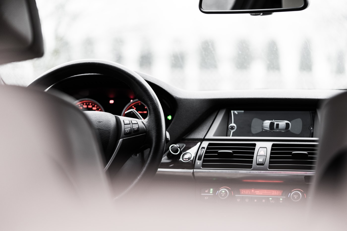 car interior with a wheel